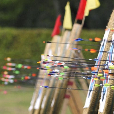 A line of targets all ready for a competition