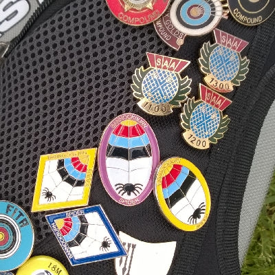 A selection of archery badges