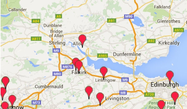 sample map of area of Scotland showing club locations