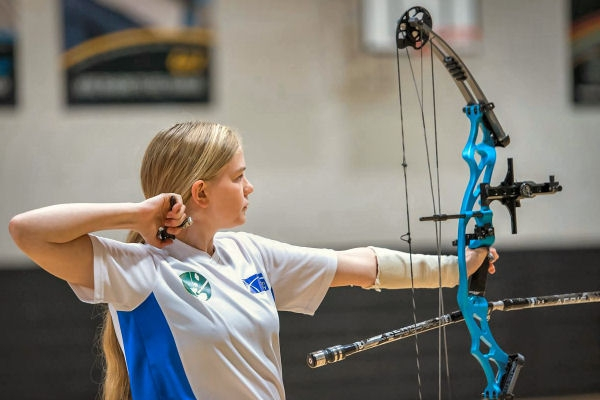 a compound bow in use at a tournament