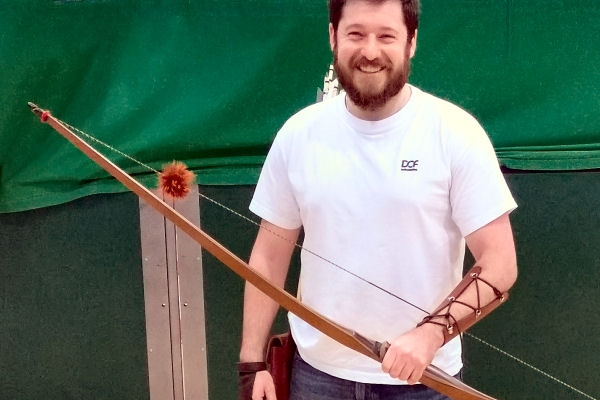 this archer enjoys shooting his flatbow