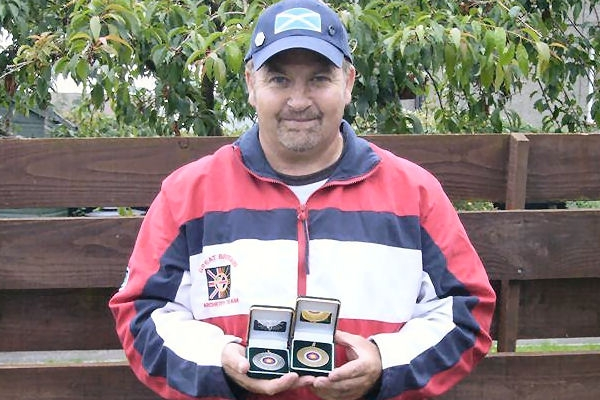 John Murray with some of his medals - July 2006