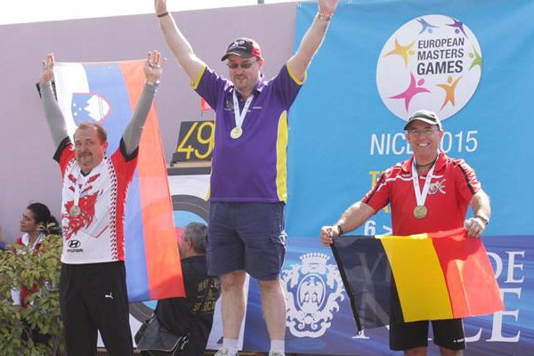 Mike Alexander winning at the European Masters Games