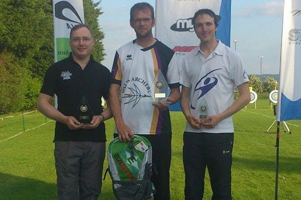 Recurve medallists Jonathan Dyke, Malcolm Alexander and Tom Hall