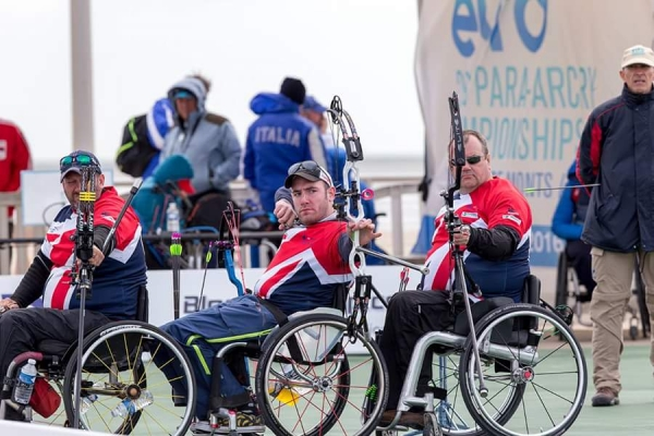 Nathan competing at the 2016  European Para-Archery Championships