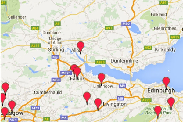 part of sample map of Scotland showing clubs