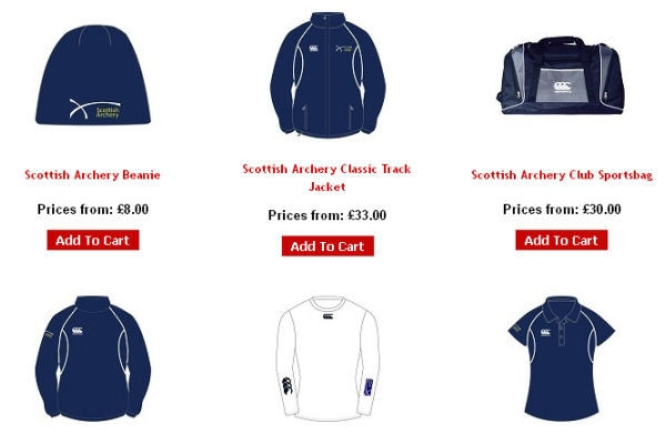 A sample of Scottish Archery clothing from PSL Team Sports